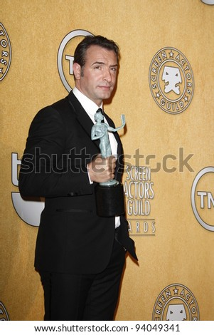 LOS ANGELES, CA - JAN 29: Jean DuJardin in the press room at the 18th annual Screen Actor Guild Awards at the Shrine Auditorium on January 29, 2012 in Los Angeles, California