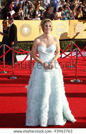 LOS ANGELES, CA - JAN 29: Kaley Cuoco at the 18th annual Screen Actor Guild Awards at the Shrine Auditorium on January 29, 2012 in Los Angeles, California - stock photo