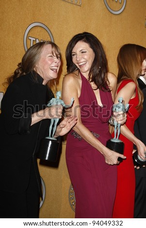 LOS ANGELES, CA - JAN 29: Sissy Spacek; Mary Steenburgen in the press room at the 18th annual Screen Actor Guild Awards at the Shrine Auditorium on January 29, 2012 in Los Angeles, California