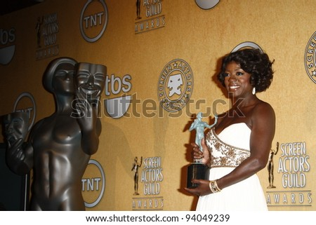 LOS ANGELES, CA - JAN 29: Viola Davis in the press room at the 18th annual Screen Actor Guild Awards at the Shrine Auditorium on January 29, 2012 in Los Angeles, California