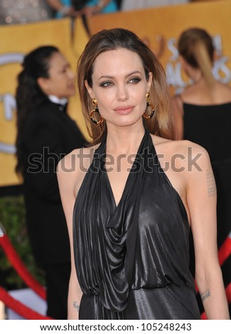LOS ANGELES, CA - JANUARY 29, 2012: Angelina Jolie at the 17th Annual Screen Actors Guild Awards at the Shrine Auditorium, Los Angeles. January 29, 2012  Los Angeles, CA