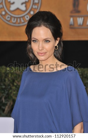 LOS ANGELES, CA - JANUARY 25, 2009: Angelina Jolie at the 15th Annual Screen Actors Guild Awards at the Shrine Auditorium, Los Angeles.