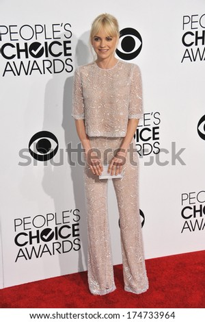 LOS ANGELES, CA - JANUARY 8, 2014: Anna Faris at the 2014 People's Choice Awards at the Nokia Theatre, LA Live.