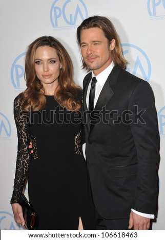 LOS ANGELES, CA - JANUARY 21, 2012: Brad Pitt; Angelina Jolie at the 23rd Annual Producers Guild Awards at the Beverly Hilton Hotel. January 21, 2012  Los Angeles, CA