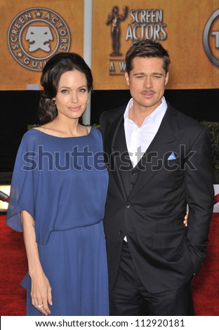 LOS ANGELES, CA - JANUARY 25, 2009: Brad Pitt & Angelina Jolie at the 15th Annual Screen Actors Guild Awards at the Shrine Auditorium, Los Angeles.