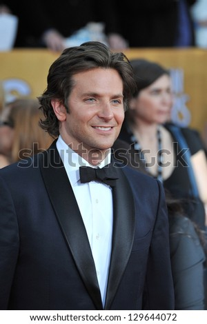 LOS ANGELES, CA - JANUARY 27, 2013: Bradley Cooper at the 19th Annual Screen Actors Guild Awards at the Shrine Auditorium, Los Angeles.