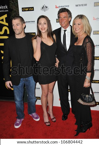 LOS ANGELES, CA - JANUARY 22, 2011: Chloe Lattanzi & fiance James Driscoll (left) & her mother Olivia Newton-John & husband John Easterling at the 2011 G'Day USA Black Tie Gala in Hollywood.