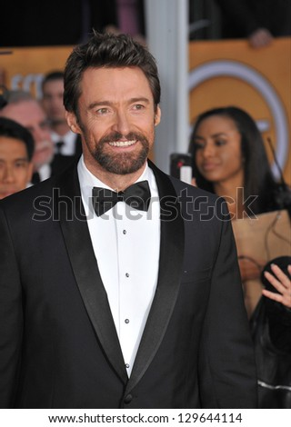 LOS ANGELES, CA - JANUARY 27, 2013: Hugh Jackman at the 19th Annual Screen Actors Guild Awards at the Shrine Auditorium, Los Angeles.