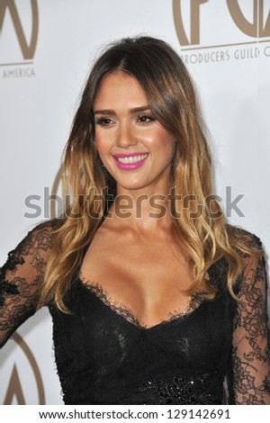 LOS ANGELES, CA - JANUARY 26, 2013: Jessica Alba at the 2013 Producers Guild Awards at the Beverly Hilton Hotel.