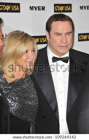 LOS ANGELES, CA - JANUARY 16, 2010: John Travolta & Olivia Newton-John at the 2010 G'Day USA Australia Week Black Tie Gala at the Grand Ballroom at Hollywood & Highland.