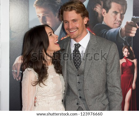 LOS ANGELES, CA - JANUARY 7: Josh Pence and Abigail Spencer arrive at the premiere of Gangster Squad at Grauman's Chinese Theatre in Los Angeles, CA on January 7, 2013 - stock photo