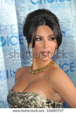 LOS ANGELES, CA - JANUARY 5, 2011: Kim Kardashian at the 2011 Peoples' Choice Awards at the Nokia Theatre L.A. Live in downtown Los Angeles. January 5, 2011  Los Angeles, CA