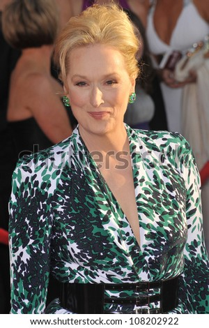 LOS ANGELES, CA - JANUARY 23, 2010: Meryl Streep at the 16th Annual Screen Actor Guild Awards at the Shrine Auditorium.