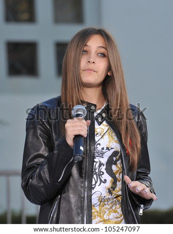 LOS ANGELES, CA - JANUARY 26, 2012: Michael Jackson's daughter Paris Jackson on Hollywood Boulevard at hand & footprint memorial at Grauman's Chinese Theatre. January 26, 2012  Los Angeles, CA