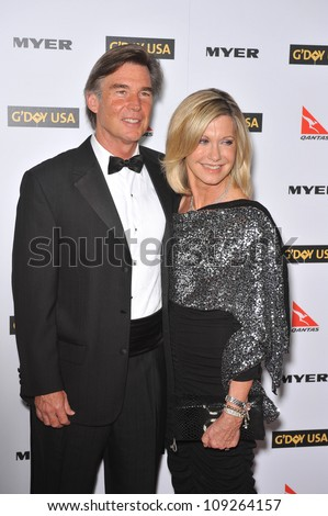 LOS ANGELES, CA - JANUARY 16, 2010: Olivia Newton-John & date at the 2010 G'Day USA Australia Week Black Tie Gala at the Grand Ballroom at Hollywood & Highland.