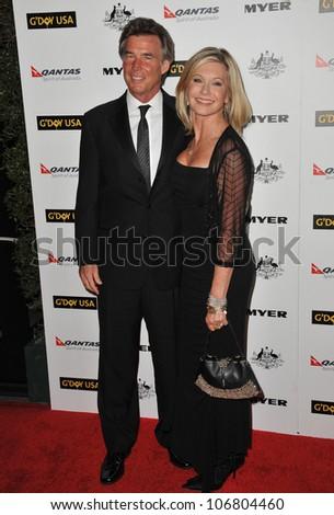 LOS ANGELES, CA - JANUARY 22, 2011: Olivia Newton-John & husband John Easterling at the 2011 G'Day USA Black Tie Gala at the Hollywood Palladium. January 22, 2011  Los Angeles, CA