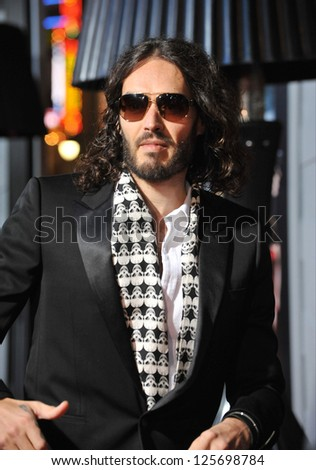 "LOS ANGELES, CA - JANUARY 7, 2013: Russell Brand at the world premiere of ""Gangster Squad"" at Grauman's Chinese Theatre, Hollywood. - stock photo"