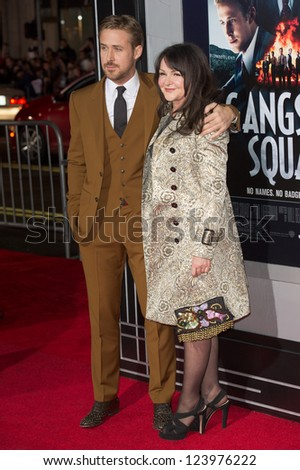 LOS ANGELES, CA - JANUARY 7: Ryan Gosling and his mother arrive at the premiere of Gangster Squad at Grauman's Chinese Theatre in Los Angeles, CA on January 7, 2013