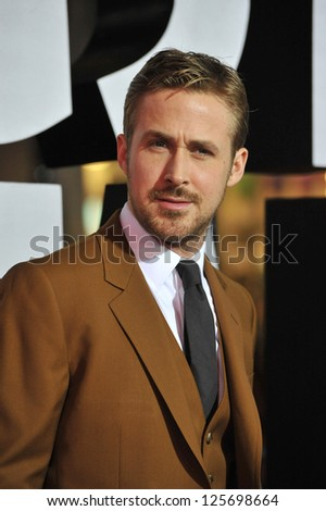 "LOS ANGELES, CA - JANUARY 7, 2013: Ryan Gosling at the world premiere of his movie ""Gangster Squad"" at Grauman's Chinese Theatre, Hollywood."