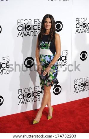 LOS ANGELES, CA - JANUARY 8, 2014: Sandra Bullock at the 2014 People's Choice Awards at the Nokia Theatre, LA Live.