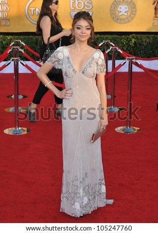LOS ANGELES, CA - JANUARY 29, 2012: Sarah Hyland at the 17th Annual Screen Actors Guild Awards at the Shrine Auditorium, Los Angeles. January 29, 2012  Los Angeles, CA