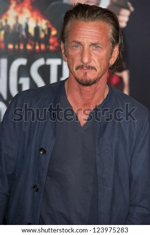 LOS ANGELES, CA - JANUARY 7: Sean Penn arrives at the premiere of Gangster Squad at Grauman's Chinese Theatre in Los Angeles, CA on January 7, 2013