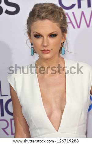 LOS ANGELES, CA - JANUARY 9, 2013: Taylor Swift at the People's Choice Awards 2013 at the Nokia Theatre L.A. Live.