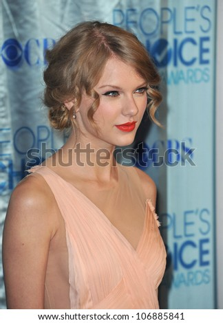 LOS ANGELES, CA - JANUARY 5, 2011: Taylor Swift at the 2011 Peoples' Choice Awards at the Nokia Theatre L.A. Live in downtown Los Angeles. January 5, 2011  Los Angeles, CA