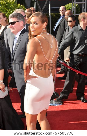 """LOS ANGELES, CA - JULY 15: An American track and field athlete, Lori """"Lolo"""" Jones, on the red carpet of the 2010 ESPY Awards at the Nokia Theater at LA Live, on July 15, 2010 in Los Angeles, CA"""