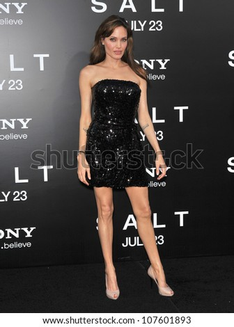 "LOS ANGELES, CA - JULY 19, 2010: Angelina Jolie at the premiere of her new movie ""Salt"" at Grauman's Chinese Theatre, Hollywood."