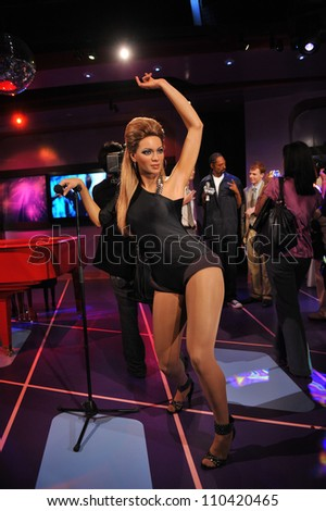 LOS ANGELES, CA - JULY 21, 2009: Beyonce Knowles waxwork figure - grand opening of Madame Tussauds Hollywood.