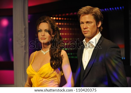 LOS ANGELES, CA - JULY 21, 2009: Brad Pitt & Angelina Jolie waxwork figure - grand opening of Madame Tussauds Hollywood.