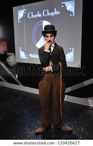 LOS ANGELES, CA - JULY 21, 2009: Charlie Chaplin waxwork figure - grand opening of Madame Tussauds Hollywood.