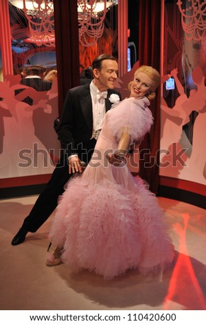 LOS ANGELES, CA - JULY 21, 2009: Fred Astaire & Ginger Rogers waxwork figure - grand opening of Madame Tussauds Hollywood.