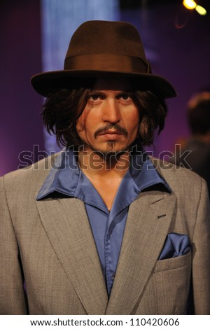 LOS ANGELES, CA - JULY 21, 2009: Johnny Depp waxwork figure - grand opening of Madame Tussauds Hollywood.