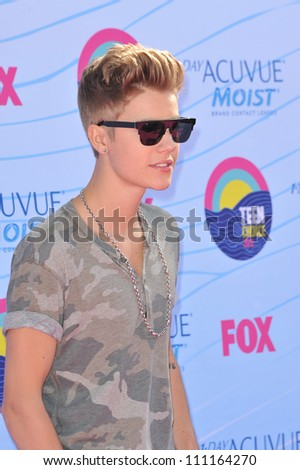 LOS ANGELES, CA - JULY 23, 2012: Justin Bieber at the 2012 Teen Choice Awards at the Gibson Amphitheatre, Universal City.