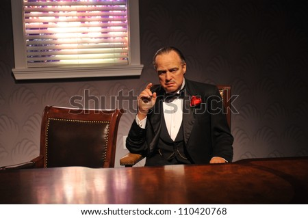 LOS ANGELES, CA - JULY 21, 2009: Marlon Brando waxwork figure - grand opening of Madame Tussauds Hollywood.