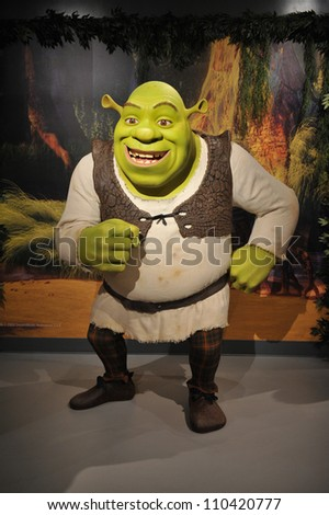 LOS ANGELES, CA - JULY 21, 2009: Shrek waxwork figure - grand opening of Madame Tussauds Hollywood.