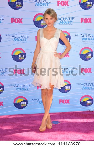 LOS ANGELES, CA - JULY 23, 2012: Taylor Swift at the 2012 Teen Choice Awards at the Gibson Amphitheatre, Universal City.