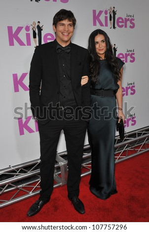 "LOS ANGELES, CA - JUNE 1, 2010: Ashton Kutcher & Demi Moore at the Los Angeles premiere of his new movie ""Killers"" at the Cinerama Dome, Hollywood."