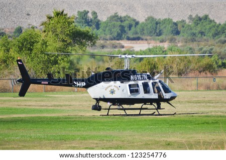 LOS ANGELES, CA. - JUNE 30: California Highway Patrol - Bell 206-L4 - American Heroes Air Show on June 30, 2012 in Los Angeles CA at the Hansen Dam Sports Complex.