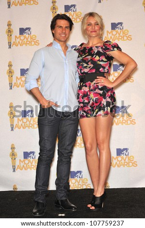 LOS ANGELES, CA - JUNE 6, 2010: Cameron Diaz & Tom Cruise at the 2010 MTV Movie Awards at the Gibson Amphitheatre, Universal Studios, Hollywood.