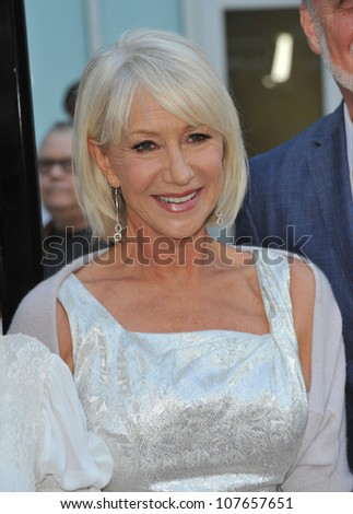"LOS ANGELES, CA - JUNE 23, 2010: Dame Helen Mirren at the Los Angeles premiere of her new movie ""Love Ranch"" at the Arclight Theatre, Hollywood."
