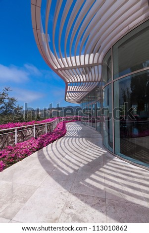 LOS ANGELES, CA - JUNE 16, 2012:  Flowers bloom at The Getty Center in Los Angeles, CA on 16 June 2012 attracting 1.3 million visitors annually.