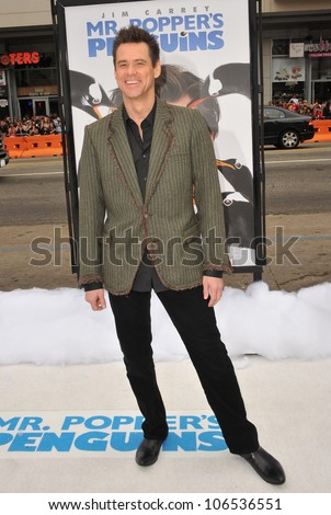 "LOS ANGELES, CA - JUNE 12, 2011: Jim Carrey at the premiere of ""Mr. Popper's Penguins"" at Grauman's Chinese Theatre, Hollywood. June 12, 2011  Los Angeles, CA - stock photo"