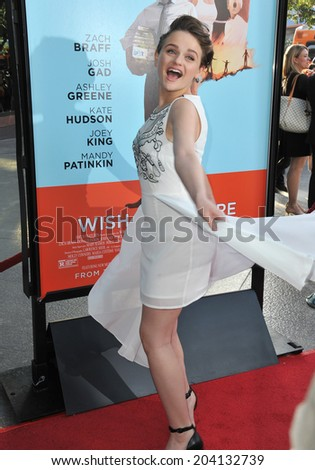 "LOS ANGELES, CA - JUNE 23, 2014: Joey King at the Los Angeles premiere of her movie ""Wish I Was Here"" at the Directors Guild Theatre."