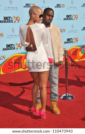 LOS ANGELES, CA - JUNE 28, 2009: Kanye West & Amber Rose at the 2009 BET Awards (Black Entertainment Television) at the Shrine Auditorium.