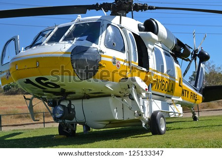 LOS ANGELES, CA. - JUNE 30: L.A. County Fire - Sikorsky S-70 - American Heroes Air Show on June 30, 2012 in Los Angeles CA at the Hansen Dam Sports Complex.