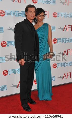 LOS ANGELES, CA - JUNE 11, 2009: Matthew McConaughey & girlfriend Camilla Alves at the 37th AFI Life Achievement Award Gala at Sony Studios, Los Angeles