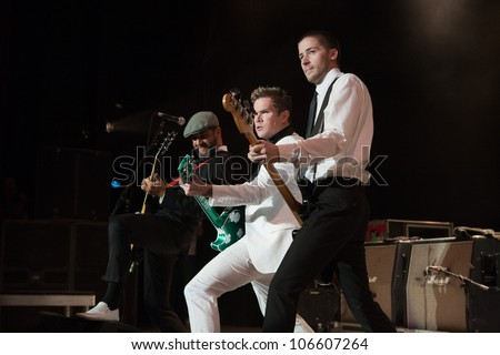 LOS ANGELES, CA - JUNE 29: Rodney Sheppard, Mark McGrath & Justin Bivona of Sugar Ray perform to a sold-out crowd at the Summerland tour at the Greek Theatre on June 29, 2012 in Los Angeles, CA.
